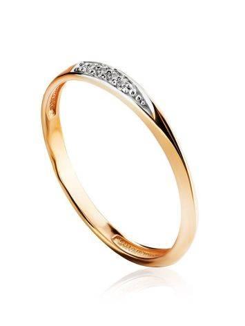 Тонкое золотое кольцо с фианитами, Размер кольца: 15.5, фото