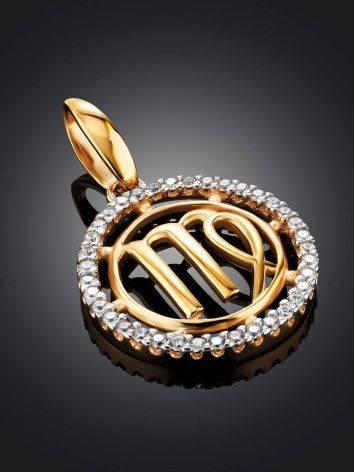 Круглый золотой кулон с цирконами «Дева», фото , изображение 2