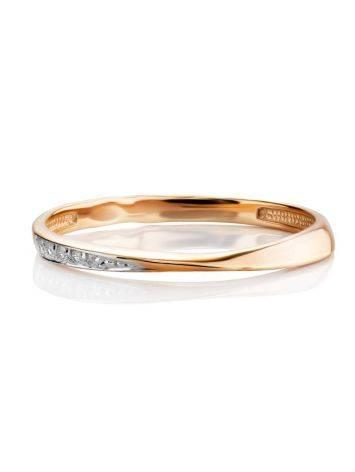 Тонкое золотое кольцо с фианитами, Размер кольца: 15.5, фото , изображение 3