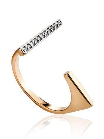 Потрясающее разомкнутое золотое кольцо с фианитами, Размер кольца: 16.5, фото