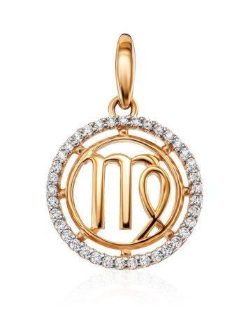 Круглый золотой кулон с цирконами «Дева», фото