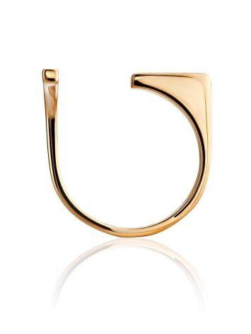 Потрясающее разомкнутое золотое кольцо с фианитами, Размер кольца: 16.5, фото , изображение 3
