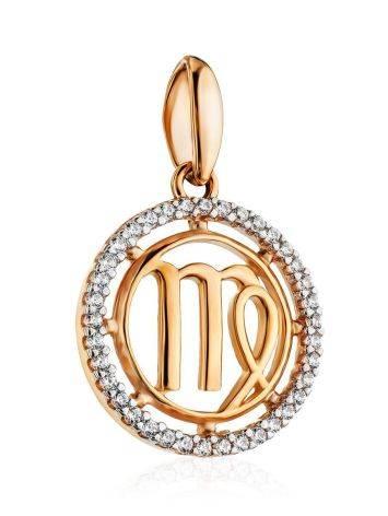 Круглый золотой кулон с цирконами «Дева», фото , изображение 3