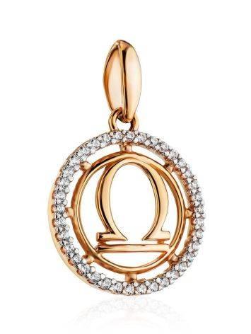 Стильная круглая подвеска из золота с цирконами «Весы», фото , изображение 3