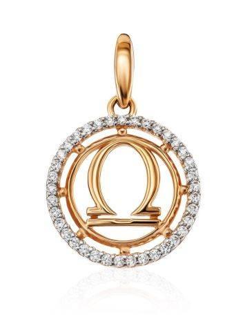 Стильная круглая подвеска из золота с цирконами «Весы», фото