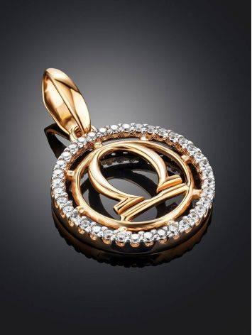 Стильная круглая подвеска из золота с цирконами «Весы», фото , изображение 2