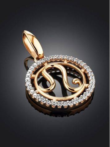 Стильная круглая золотая подвеска «Лев», фото , изображение 2