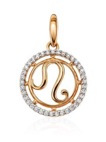 Стильная круглая золотая подвеска «Лев», фото