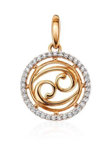 Золотой кулон с яркими цирконами «Рак», фото