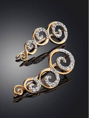 Необычные золотые серьги-клаймберы с кристаллами, фото , изображение 2