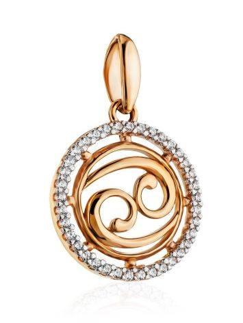 Золотой кулон с яркими цирконами «Рак», фото , изображение 3