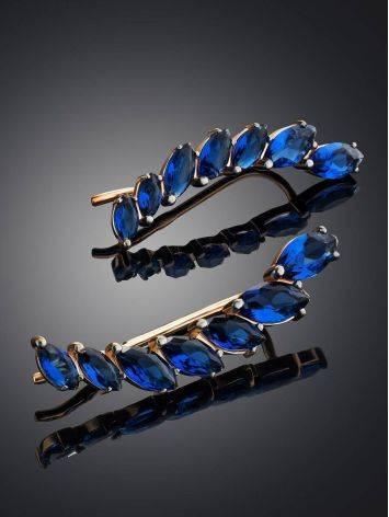 Трендовые золотые серьги-клаймберы с кристаллами, фото , изображение 2