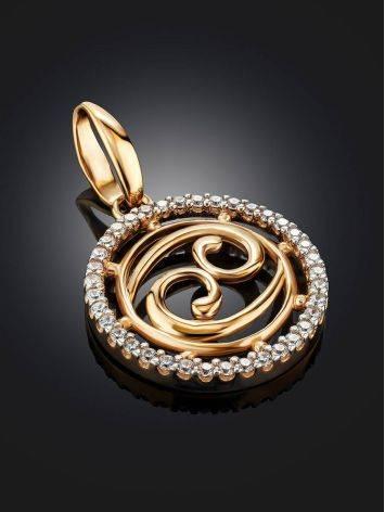Золотой кулон с яркими цирконами «Рак», фото , изображение 2
