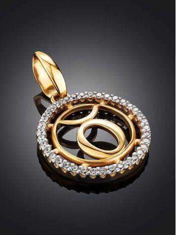 Золотая подвеска с цирконами «Телец», фото , изображение 2