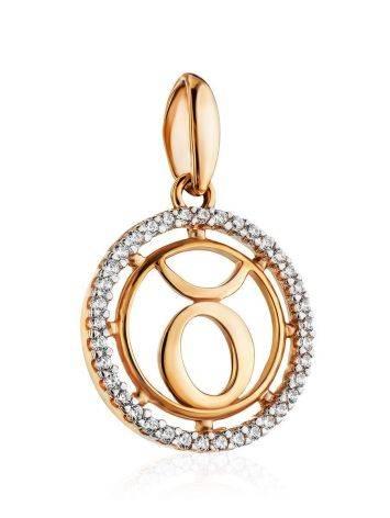 Золотая подвеска с цирконами «Телец», фото , изображение 3