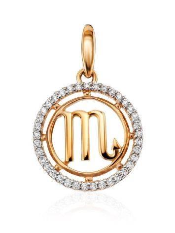 Круглый золотой кулон с цирконами «Скорпион», фото