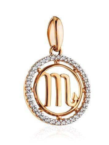 Круглый золотой кулон с цирконами «Скорпион», фото , изображение 3