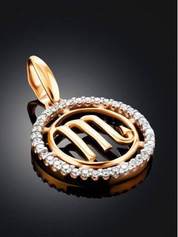 Круглый золотой кулон с цирконами «Скорпион», фото , изображение 2