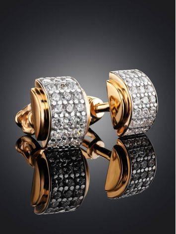 Золотые серьги-гвоздики с фианитами, фото , изображение 2