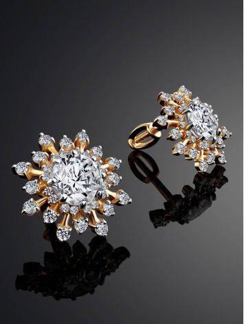 Крупные золотые серьги-гвоздики с фианитами, фото , изображение 2
