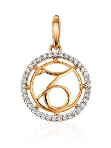 Круглая золотая подвеска с цирконами «Козерог», фото