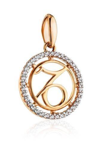 Круглая золотая подвеска с цирконами «Козерог», фото , изображение 3