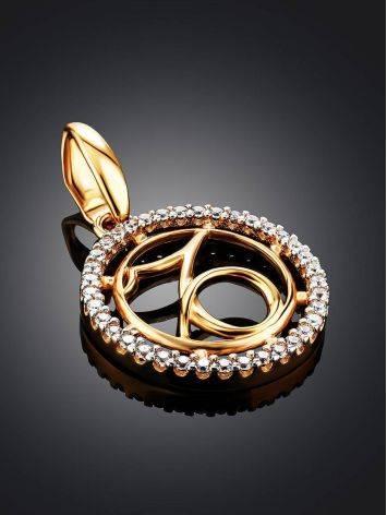 Круглая золотая подвеска с цирконами «Козерог», фото , изображение 2
