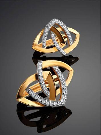 Объемные золотые серьги с фианитами, фото , изображение 2