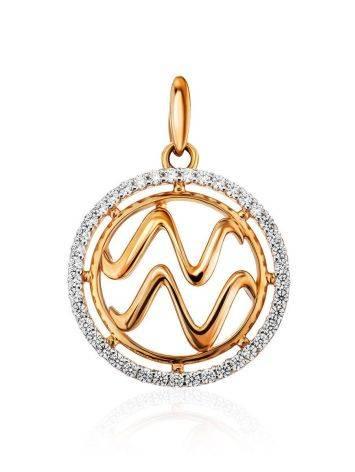 Круглый золотой кулон с цирконами «Водолей», фото