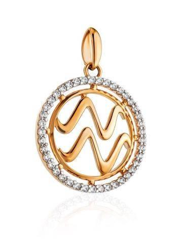 Круглый золотой кулон с цирконами «Водолей», фото , изображение 3
