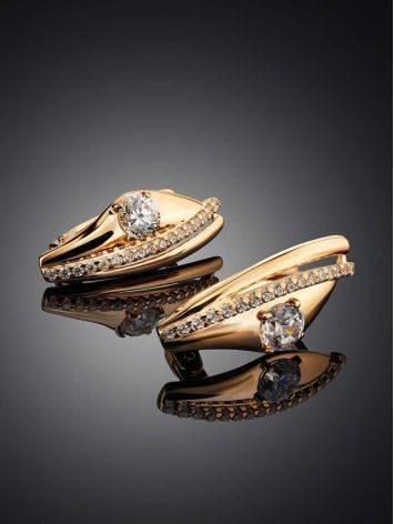 Изысканные золотые серьги с фианитами, фото , изображение 2