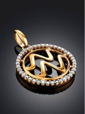 Круглый золотой кулон с цирконами «Водолей», фото , изображение 2