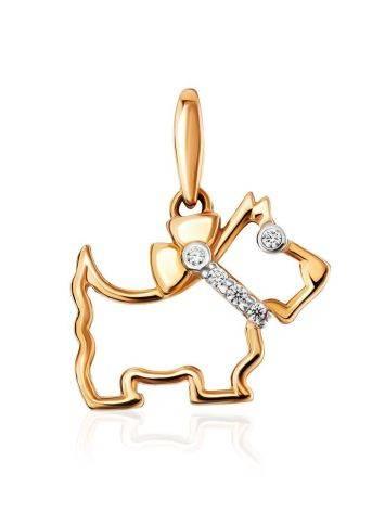 Золотой кулон в форме собачки с цирконами, фото