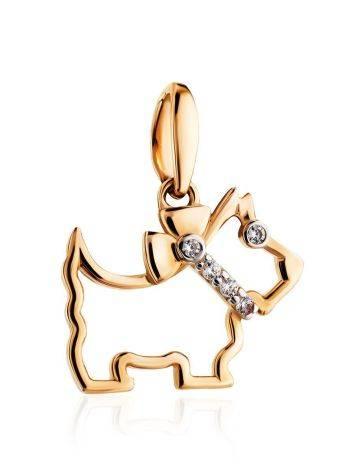 Золотой кулон в форме собачки с цирконами, фото , изображение 3