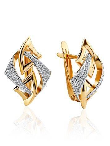 Геометричные золотые серьги с фианитами, фото