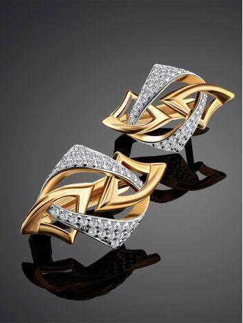 Геометричные золотые серьги с фианитами, фото , изображение 2