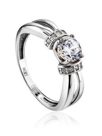 Женственное кольцо из белого золота с яркими цирконами, Размер кольца: 16, фото