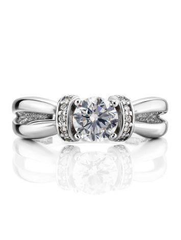 Женственное кольцо из белого золота с яркими цирконами, Размер кольца: 16, фото , изображение 3