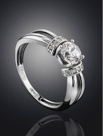 Женственное кольцо из белого золота с яркими цирконами, Размер кольца: 16, фото , изображение 2