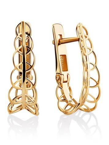 Ажурные золотые серьги, фото