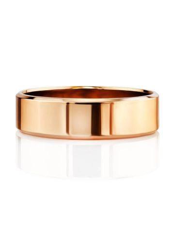 Широкое золотое кольцо в лаконичном дизайне, Размер кольца: 16.5, фото , изображение 3