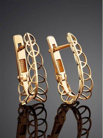 Ажурные золотые серьги, фото , изображение 2