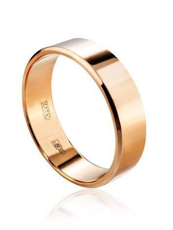 Широкое золотое кольцо в лаконичном дизайне, Размер кольца: 16.5, фото