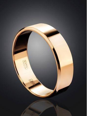 Широкое золотое кольцо в лаконичном дизайне, Размер кольца: 16.5, фото , изображение 2