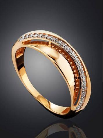 Широкое золотое кольцо с дорожкой из 24 цирконов, Размер кольца: 17.5, фото , изображение 2