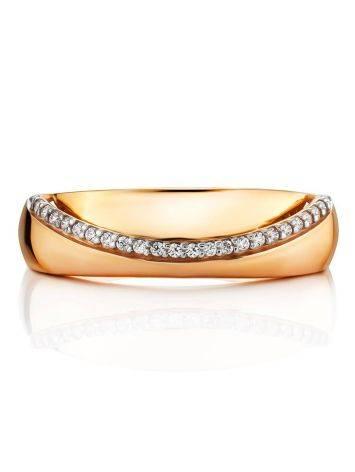 Широкое золотое кольцо с дорожкой из 24 цирконов, Размер кольца: 17.5, фото , изображение 3