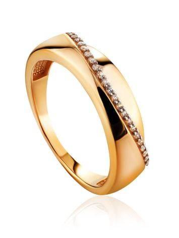 Широкое золотое кольцо с дорожкой из 24 цирконов, Размер кольца: 17.5, фото