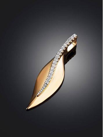 Удлиненная золотая подвеска с фианитами, фото , изображение 2