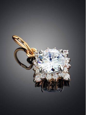 Очаровательная золотая подвеска с яркими кристаллами, фото , изображение 2