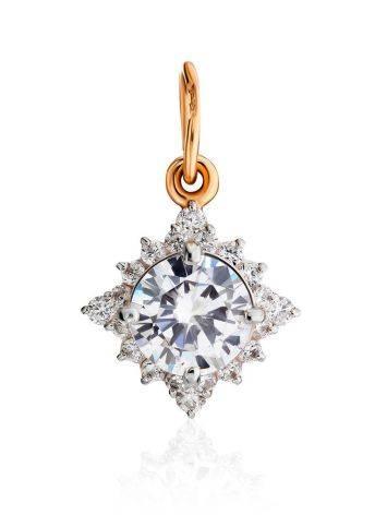 Очаровательная золотая подвеска с яркими кристаллами, фото